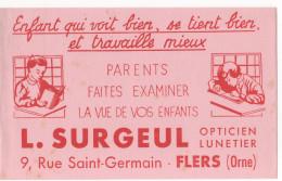 FLERS-DE-L'ORNE  - ( Orne )  - Buvard-  L . SURGEUL Opticien Lunetier - Buvards, Protège-cahiers Illustrés