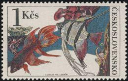 Czechoslovakia / Stamps (1975) 2143: Aquarium Fish (Betta Splendens, Pterophyllum); Painter: Josef Liesler