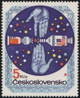 Czechoslovakia / Stamps (1975) 2164: Space Exploration (Apollo And Soyuz); Painter: Ivan Strnad