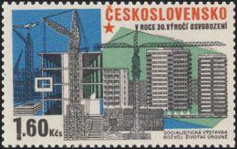Czechoslovakia / Stamps (1975) 2172: Construction (residential Buildings; Apartment Constr.); Painter: Jaroslav Lukavsky