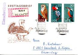 RDA. N°969 & 972-3 De 1967 Sur Enveloppe 1er Jour Ayant Circulé. Chouette Effraie/Martin-pêcheur. - Hiboux & Chouettes