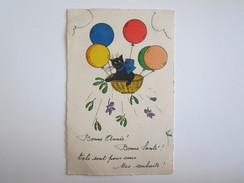 Bonne Année Bonne Santé  Chat Illustrateur René Fantaisie - Nieuwjaar