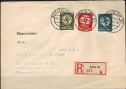 DEUTSCHES REICH 1942 -Reko Dienstpostbeleg Behörde MiNr: 167+170+175  Used - Officials