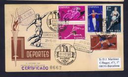 2 Covers Sports Deportes Football Cyclisme Athlétisme Gymnastique Hockey (sur Gazon) Fdc 1960 Barcelona Sp4301 - Ciclismo