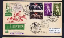 "Spain Cover Sports Deportes ""pelota Jumping"" Horses Race Dressage Fdc 1960 Barcelona Sp4304"