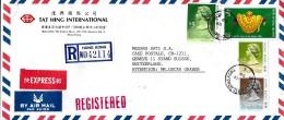 G 308 - Enveloppe Recommandée  Exprès Envoyée De Hong Kong En Suisse 1989 - Hong Kong (...-1997)