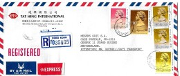 G 309 - Enveloppe Recommandée  Exprès Envoyée De Hong Kong En Suisse 1989 - Hong Kong (...-1997)