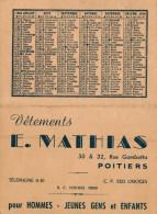 CALENDRIER  1950 VETEMENTS E MATHIAS  POITIERS - Calendriers