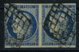 FRANCE ( POSTE ) : Y&T  N°  4  EN  PAIRE  TIMBRES  BIEN  OBLITERE , TIMBRES   A  VOIR .