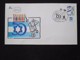1997 HOLY LAND HANUKA CANDEL LIGHT FIRST DAY ISSUE POST OFFICE AIR MAIL STAMP ENVELOPE ISRAEL JUDAICA JERUSALEM - Israel