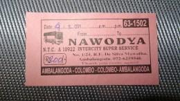 Bus Ticket From Sri Lanka (Ambalangoda - Colombo) - Bus Fahrkarte - Transportation