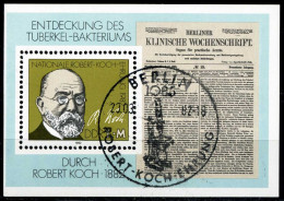 DDR - Michel Block 67 = 2685 - OO Gestempelt (B) - 1M     Robert Koch - [6] Oost-Duitsland