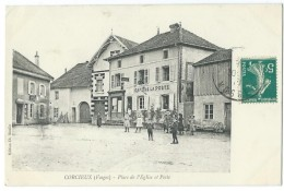 88 - CORCIEUX - Place De L'Eglise Et Poste - CPA - Corcieux