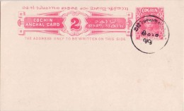 India, Princely State Cochin, Postal Stationary Card, Inde Indien As Scan - Cochin