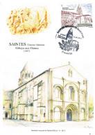 """Frankreich Maximumkarte Benediktiner Innen - Abtei """"Abbaye Aux Dames"""", Saintes, Charente, Romanik, Architekt - Klöster"""