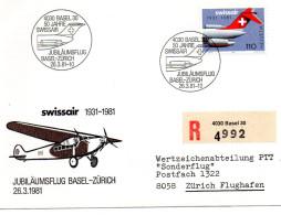 B - 1981 Svizzera - 50° Del Volo Basilea - Zurigo - Posta Aerea