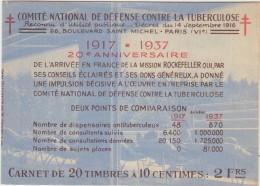 Timbres Carnet  Comite National De Defense Conntre La Tuberculose 1917  1937