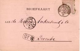 18 DEC 1893 Correspondentiekaart  Met NVPH 33 Van Vlissingen Naar Deventer Via Treinverbinding ROTTERD:-VLISSINGEN V - Periode 1891-1948 (Wilhelmina)