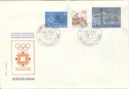 JUGOSLAVIA Torchrelay Olympic Cover With Olympic Handcancel Beograd 4.2.1984 - Winter 1984: Sarajevo