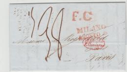 I-LV016 / Mailand 1838 Via Elsass Nach Paris - 1. ...-1850 Prefilatelia