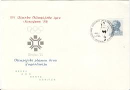 JUGOSLAVIA Torchrelay Olympic Postcard With Olympic Black Machine Cancel Becej 4.II.1984 - Winter 1984: Sarajevo