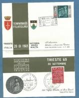 TRIESTE SULLE VIE DEL MARE - ANNULLO ED EMISSIONE BUSTA PUBBLICITARIA TRIESTE VICTORIA GOZO MALTA - 1969 - Malta