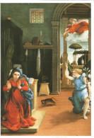 CPM Art, Tableau Lorenzo Lotto, L'Annonciation (religion, Ange, Marie) Louvre Paris, Exposition 1998 - Peintures & Tableaux