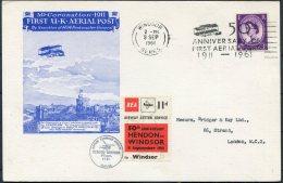 1961 GB Hendon - Windsor BEA, Airway Letter Service Flight Postcard / 1911 Coronation Aerial Post - 1952-.... (Elizabeth II)