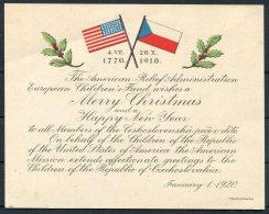1920 Czechslovakia, American Relief Administration European Childrens Fund Christmas Card / USA - Czechoslovakia