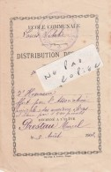 DIEPPE (76) - Ecole Communale Louis Vitet - Ecole Du Marché Aux Veaux - Distribution Des Prix 1902 ( Très Rare ) - Diploma & School Reports