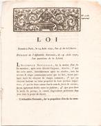 LOI DU 14 AOUT 1792 N° 2068 - Décrets & Lois