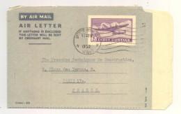Entier Postal - Inde / India - Air Letter - Cachet 1952 - New Delhi Vers Paris - Aerograms
