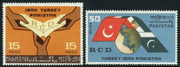 1965 Pakistan 1st Anniversary Of RCD, Flags, Joint Hands, Joint Issue With Iran And Turkey (2v) MNH (PK-08)