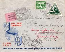 15.VI 1937  Luchtpostbrief Van 's-Gravenhage Naar Salatiga Met Speciaal Stempel En Refusé-plakstrook Retourgezonden - 1891-1948 (Wilhelmine)