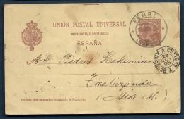 Spanien FERROL 18.11.1896 Ganzsache 10c Nach Trebizonda Türkei Mit Zugstempel Bordeaux-Cette