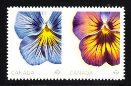 Canada MNH Scott #2813i (85c) Pansies - Delta Premium Pure Light Blue, Midnight Glow Die Cut To Shape Ex Booklet - 1952-.... Règne D'Elizabeth II