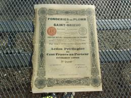 FONDERIES DE PLOMB DE SAINT BRIEUC (1926) Cotes Du Nord - Azioni & Titoli