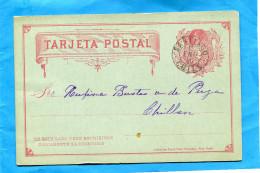 MARCOPHILIE -CHILI-Tarjeta-Carte  Entier Postal-2 Cent Colon-oblitération Santiago 1885-+bel état - Chile