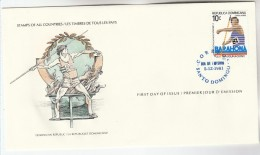 1981 DOMINICAN REPUBLIC JAVELIN Sport FDC Special Cover By International Postmasters Society, Athletics - Dominicaine (République)
