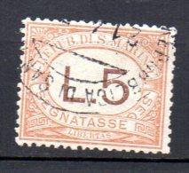 1925 San Marino - Segnatasse 26 - 5 Lira Timbrato Used - Strafport