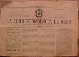 Rare JOURNAL ESPAGNOL LA CORRESPONDENCIA DE REUS , Domingo 4 De Noviembre 1888  DIARO POLITICO Prix Fixe - Revues & Journaux
