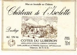 Étiquette   -  COTES DU LIBERON - Château De L'Isolette - Unclassified