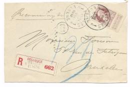 N° 77  Recom. IXELLES/ELSENE  1912    Devant De Lettre/ Voorzijde Brief - 1905 Grosse Barbe