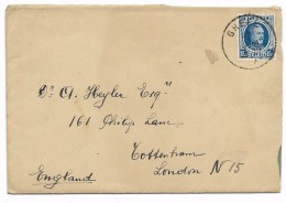HOUYOUX Nr  206  1,25 Fr  GHEEL  1926  Naar  Engeland - 1922-1927 Houyoux