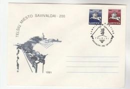 1991 Savivaldai LITHUANIA Stamps COVER EVENT Pmk Illus BEAR - Lithuania