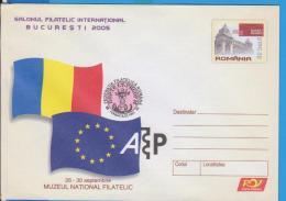 FLAGS EUROPEAN UNION ROMANIA  GANZSACHE STATIONERY ENTIER