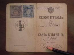 Tessera CARTA D' IDENTITA' REGNO D' ITALIA   COMUNE DI Roma  1927 ANNO V. - Documenti Storici