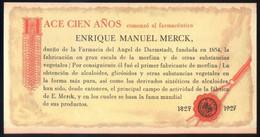 *Enrique Manuel Merck. 1827-1927* Tríptico. Meds: 90 X 172 Mms. - Publicidad