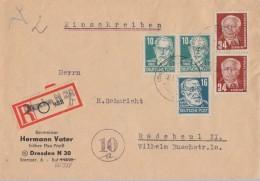 SBZ R-Brief Mif Minr.2x 215,218 DDR Minr.2x 252 Dresden 16.1.51 - Sowjetische Zone (SBZ)
