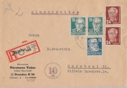 SBZ R-Brief Mif Minr.2x 215,218 DDR Minr.2x 252 Dresden 16.1.51 - Zone Soviétique